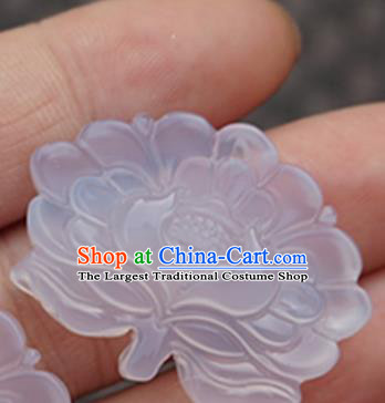 Handmade Chinese Ancient Carving Chalcedony Lotus Jade Pendant Traditional Jade Craft Jewelry Decoration Accessories
