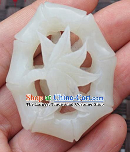 Handmade Chinese Ancient Carving Bamboo Leaf Jade Pendant Traditional Jade Craft Jewelry Decoration Accessories