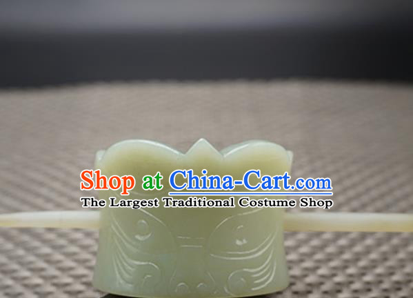 Chinese Handmade Jade Carving Beast Hairdo Crown Ancient Jade Hairpins Hair Accessories for Women for Men