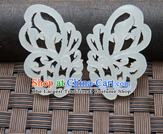 Chinese Ancient Carving Butterfly Wing Jade Pendant Traditional Handmade Jade Craft Jewelry Decoration Accessories