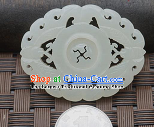 Chinese Ancient Carving Brooch Jade Pendant Traditional Handmade Jade Craft Jewelry Decoration Accessories