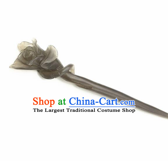 Chinese Handmade Gray Jade Carving Hair Clip Ancient Jade Hairpins Hair Accessories for Women for Men