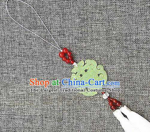Chinese Handmade Jade Craft Carving Dragon Waist Accessories Tassel Jade Pendant Jewelry Decoration
