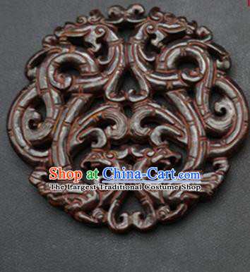 Chinese Ancient Wedding Carving Dragon Phoenix Brown Jade Pendant Traditional Handmade Jade Craft Jewelry Decoration Accessories
