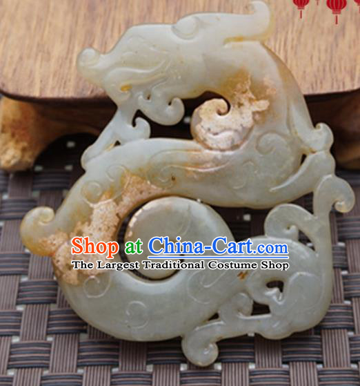 Chinese Ancient Wedding Accessories Carving Dragon Jade Pendant Traditional Handmade Jade Craft Jewelry Decoration
