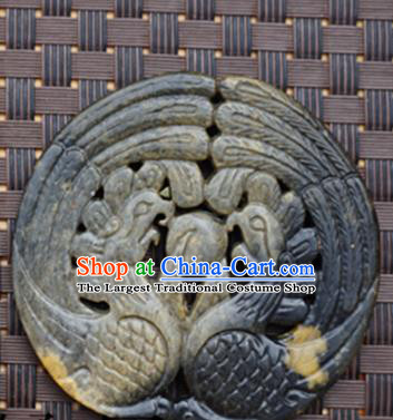 Chinese Ancient Carving Double Phoenix Jade Pendant Traditional Handmade Jade Craft Jewelry Decoration Accessories