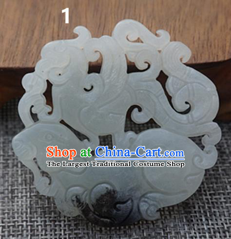 Chinese Ancient Carving Jade Pendant Traditional Handmade Jade Craft Jewelry Decoration Accessories