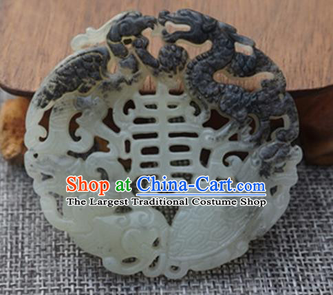 Chinese Ancient Wedding Carving Tortoise Gray Jade Pendant Traditional Handmade Jade Craft Jewelry Decoration Accessories