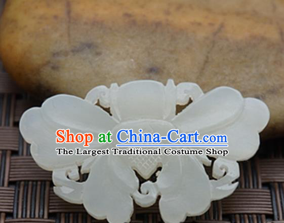 Chinese Ancient Jewelry Accessories Carving Butterfly Jade Pendant Traditional Handmade Jade Craft Decoration