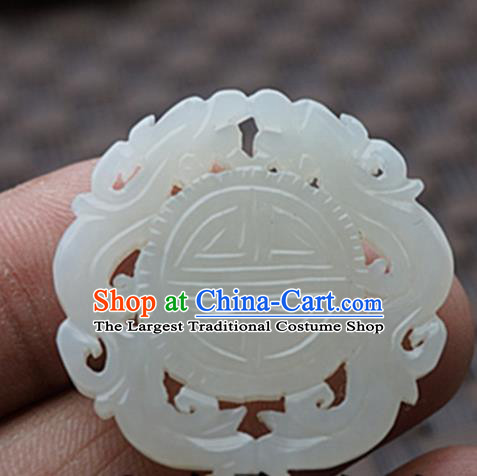 Chinese Ancient Jewelry Accessories Carving Dragon Jade Pendant Traditional Handmade Jade Craft Decoration
