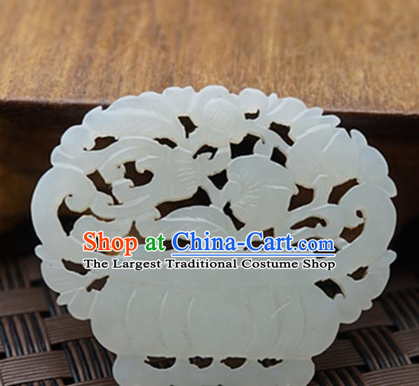 Chinese Ancient Jewelry Accessories Carving Treasure Bowl Jade Pendant Traditional Handmade Jade Craft Decoration