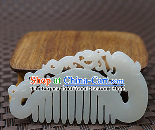 Chinese Handmade Jade Carving Dragon Hair Comb Ancient Jade Hairpins Hair Accessories for Women