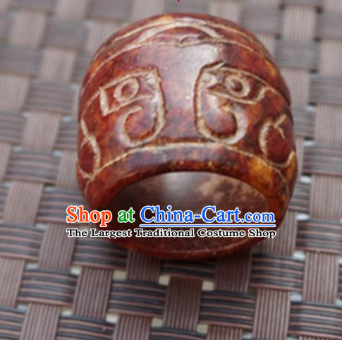 Chinese Handmade Ancient Jade Carving Ring Traditional Jade Thimble Jewelry Accessories for Women for Men