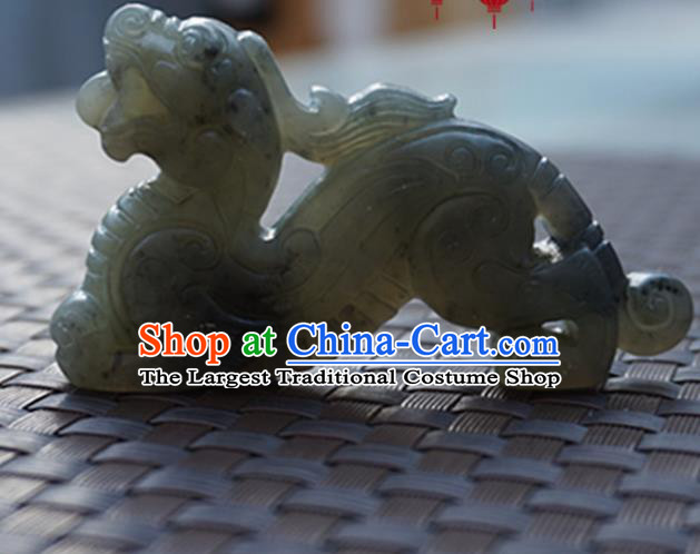 Chinese Ancient Jewelry Accessories Carving Jade Pi Xiu Pendant Traditional Handmade Jade Craft Decoration