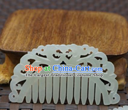 Chinese Handmade Jade Carving Double Dragons Hair Comb Ancient Jade Hairpins Hair Accessories for Women