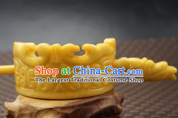 Handmade Chinese Yellow Jade Carving Beast Hair Crown Ancient Jade Hairpins Hair Accessories for Women for Men