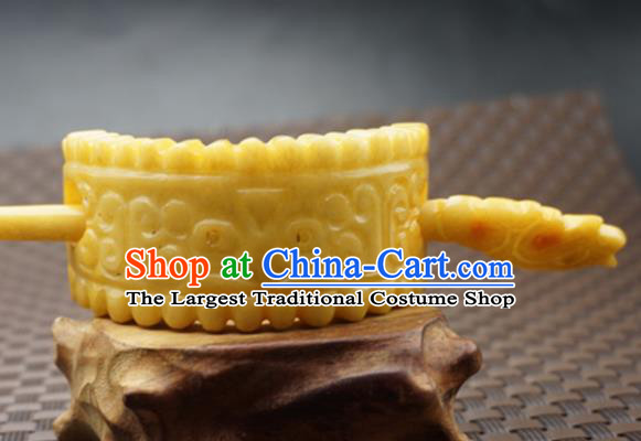 Handmade Chinese Yellow Jade Carving Beast Hair Crown Ancient Swordsman Jade Hairpins Hair Accessories for Women for Men