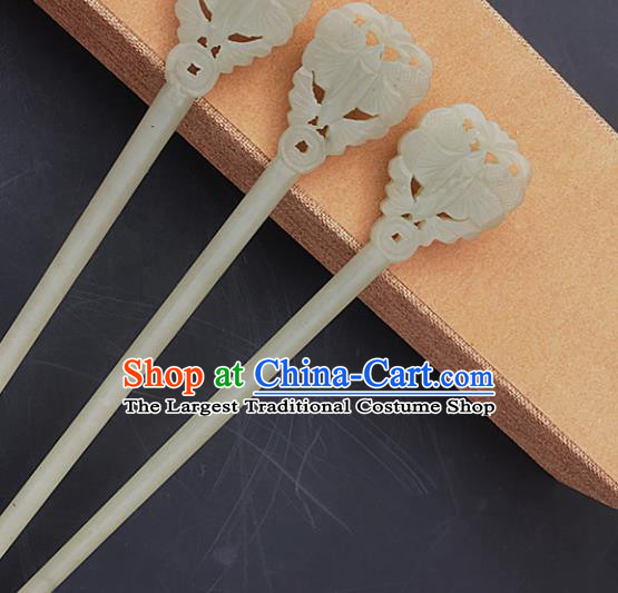 Handmade Chinese Jade Carving Butterfly Hair Clip Ancient Swordsman Jade Hairpins Hair Accessories for Women for Men