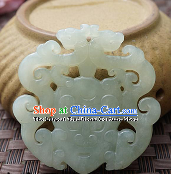 Chinese Handmade Jade Carving Double Dragons Pendant Jewelry Accessories Ancient Traditional Jade Craft Decoration