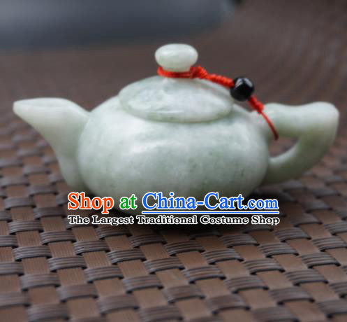 Chinese Handmade Jade Pendant Carving Teapot Jewelry Accessories Ancient Traditional Jade Craft Decoration