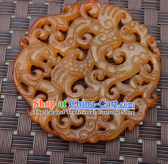 Chinese Handmade Jade Pendant Carving Tiger Jewelry Accessories Ancient Traditional Jade Craft Decoration