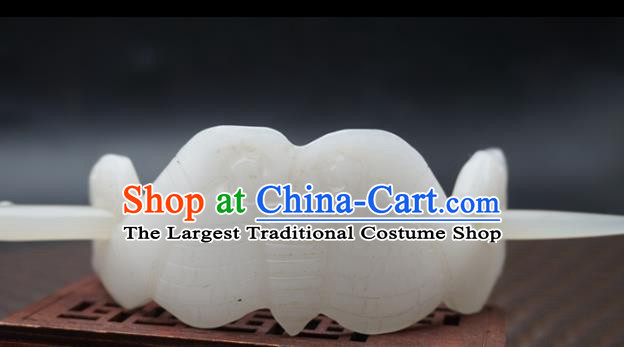 Handmade Chinese White Jade Carving Bat Hairdo Crown Ancient Swordsman Jade Hairpins Hair Accessories for Women for Men