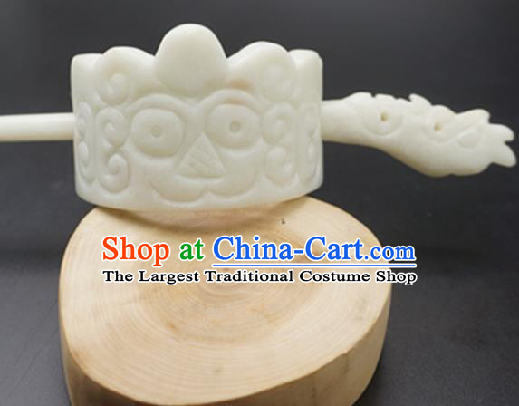 Handmade Chinese White Jade Carving Beast Hairdo Crown Ancient Swordsman Jade Hairpins Hair Accessories for Women for Men