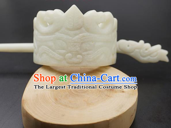 Handmade Chinese White Jade Carving Hairdo Crown Ancient Swordsman Jade Hairpins Hair Accessories for Women for Men
