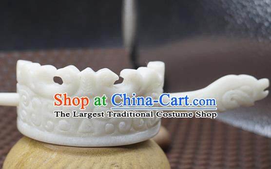 Handmade Chinese Jade Carving Hairdo Crown Ancient Swordsman White Jade Hairpins Hair Accessories for Women for Men