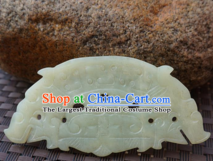 Handmade Chinese Carving Jade Pendant Jewelry Accessories Ancient Traditional Jade Craft Decoration