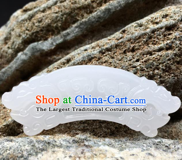 Handmade Chinese Carving Dragon Head Jade Pendant Jewelry Accessories Ancient Traditional Jade Craft Decoration