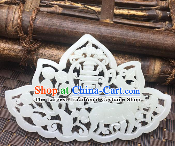 Handmade Chinese Carving Wedding Jade Pendant Jewelry Accessories Ancient Traditional Jade Craft Decoration