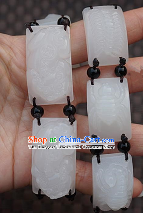 Chinese Handmade Ancient Carving Pi Xiu Jade Bracelet Traditional Jade Bangle Jewelry Accessories for Women for Men