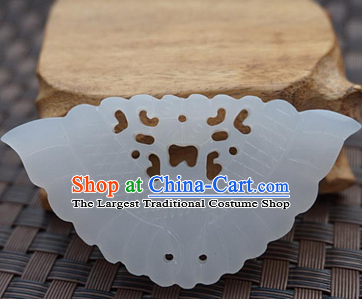Handmade Chinese Carving Butterfly Jade Pendant Jewelry Accessories Ancient Traditional Jade Craft Decoration