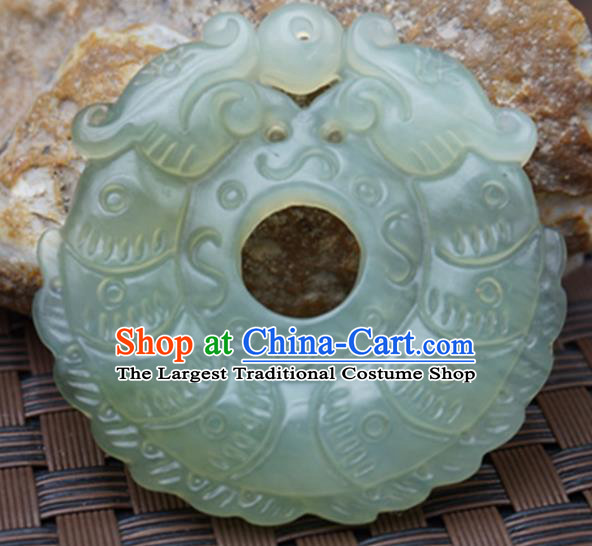 Handmade Chinese Carving Dragons Jade Pendant Jewelry Accessories Ancient Traditional Jade Craft Decoration