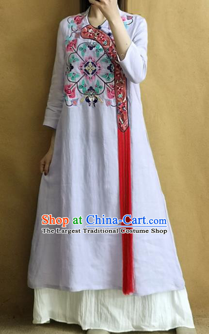 Traditional Chinese Embroidered Lilac Qipao Dress Tang Suit Cheongsam National Costume for Women