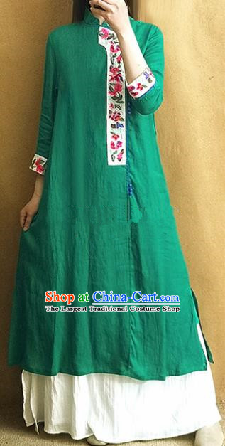 Traditional Chinese Tang Suit Cheongsam Embroidered Green Qipao Dress National Costume for Women