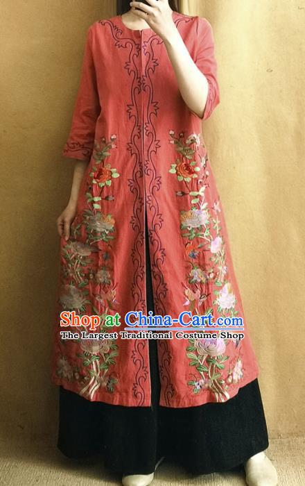 Traditional Chinese Embroidered Chrysanthemum Outer Garment Tang Suit Red Coat National Costume for Women
