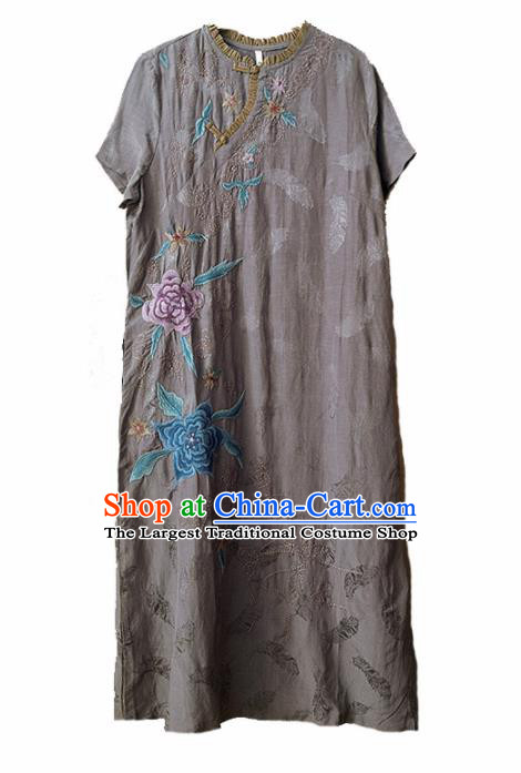 Traditional Chinese National Costume Tang Suit Embroidered Grey Cheongsam Qipao Dress for Women