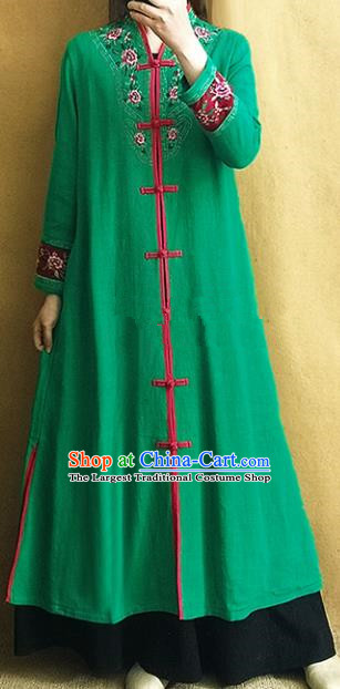Traditional Chinese Embroidered Green Outer Garment Tang Suit Coat National Costume for Women