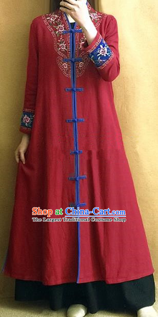 Traditional Chinese Embroidered Dark Red Outer Garment Tang Suit Coat National Costume for Women
