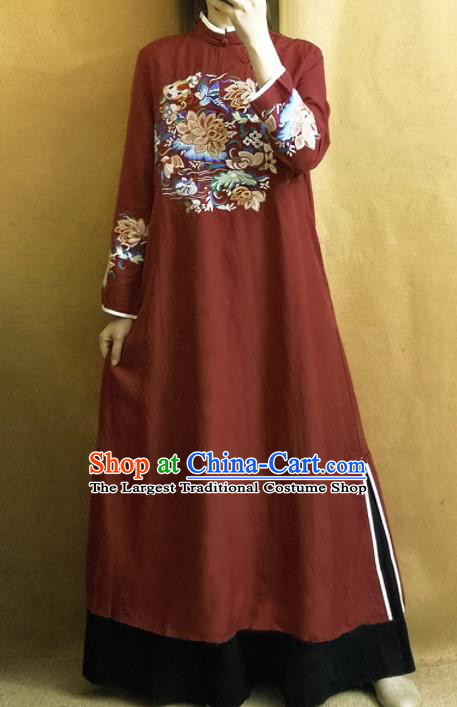 Traditional Chinese Tang Suit Embroidered Lotus Rust Red Cheongsam Linen Qipao Dress National Costume for Women