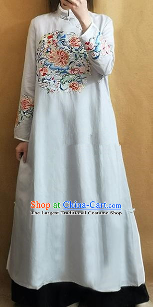 Traditional Chinese Tang Suit Embroidered Lotus White Cheongsam Linen Qipao Dress National Costume for Women