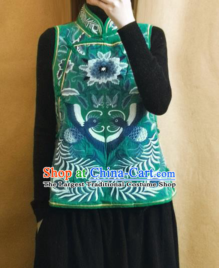 Traditional Chinese Embroidered Green Vest Upper Outer Garment Tang Suit Waistcoat National Costume for Women