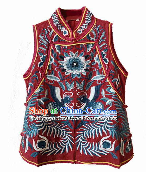 Traditional Chinese Embroidered Red Vest Upper Outer Garment Tang Suit Waistcoat National Costume for Women