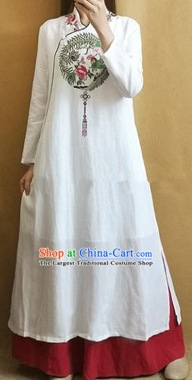 Traditional Chinese Tang Suit Embroidered Phoenix Peony White Cheongsam Qipao Dress National Costume for Women
