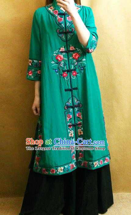 Traditional Chinese Embroidered Flowers Green Long Coat Tang Suit Outer Garment National Costume for Women