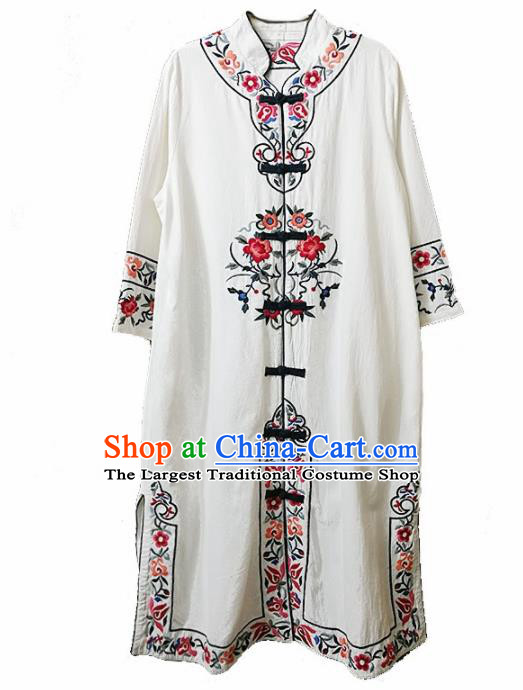 Traditional Chinese Embroidered Flowers White Long Coat Tang Suit Outer Garment National Costume for Women