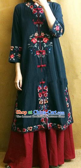 Traditional Chinese Embroidered Flowers Navy Coat Tang Suit Outer Garment National Costume for Women