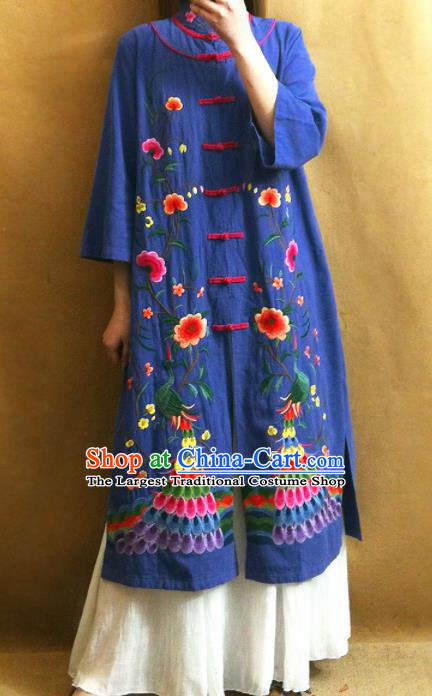 Traditional Chinese Embroidered Peacock Peony Royalblue Coat Tang Suit Outer Garment National Costume for Women